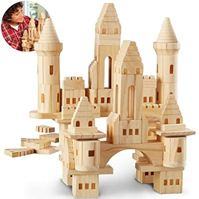 DISCOVERY KIDS 75-Piece Premium Piece Wooden Castle Building Blocks Set; Spark Your Child's Imagination & Develop Essential Skills, Educational, Durable & Safe Construction Blocks, Great Gift: Kitchen & Dining
