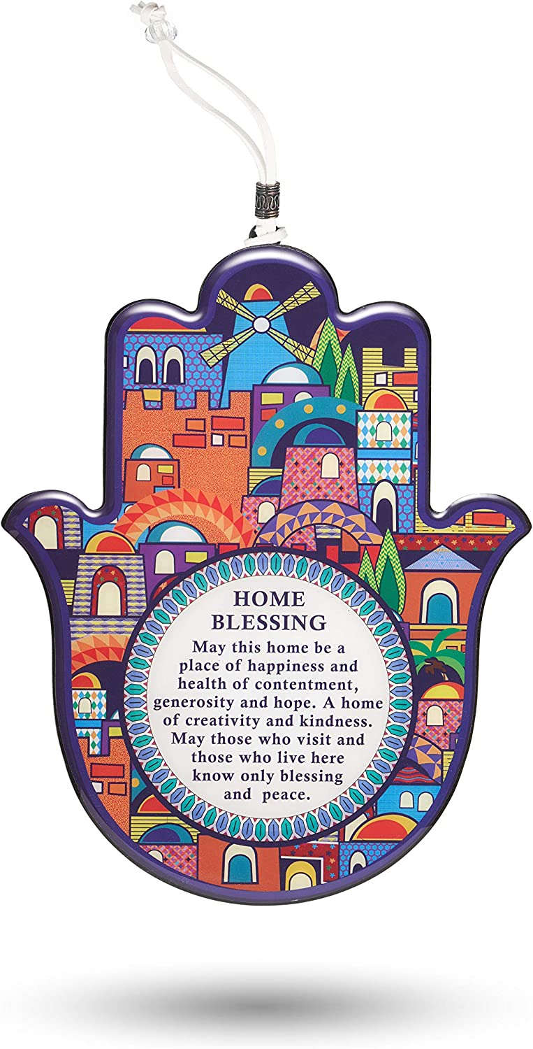 A&S Mezuzot Hamsa Wall Decor Evil Eye Charm Protection Amulet Home/Business Good Luck Charms in English/Hebrew Blessings (Multi Color Jerusalem, English Blessings)