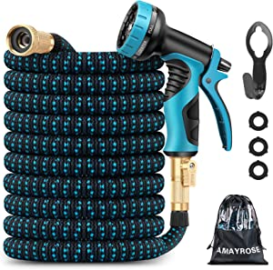 Amayrose 50ft Garden Hose Expandable Water Hose with 9 Function Nozzle, Leakproof Expanding Flexible Outdoor Yard Hose with Solid Brass Fittings, Extra Strength 3750D Durable Car Wash Hose Pipe (50ft)