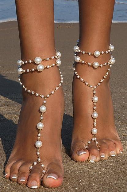 9e8f86fcabb774 Amazon.com  Bienvenu Ivory Pearl Beach Wedding Barefoot Sandals Dancing  Ankle Bracelet