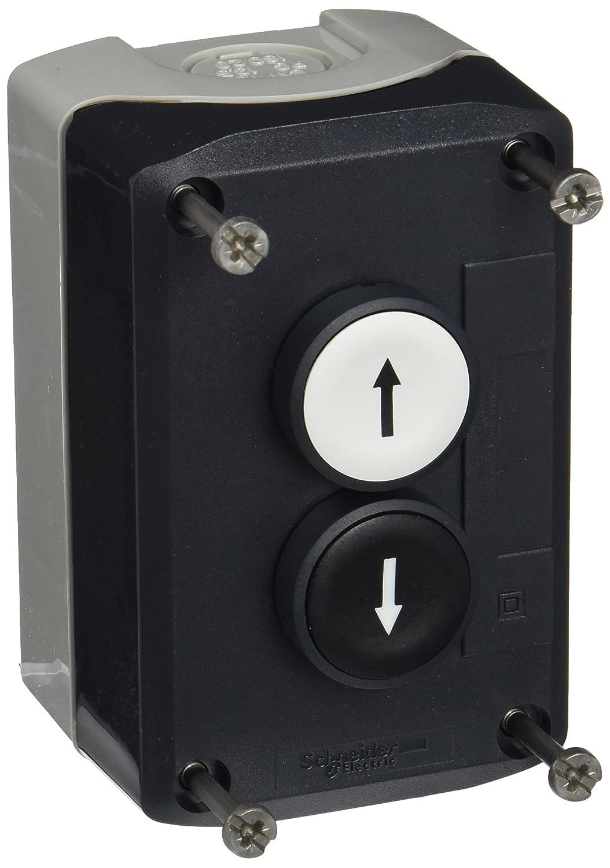 'Schneider Xald223Harmony Box avec 2boutons Boutons poussoirs, 22mm de diamètre du bouton Blanc, points de flèche vers la droite 2,5cm F– Noir points de flèche vers la gauche 1ou' Schneider Electric