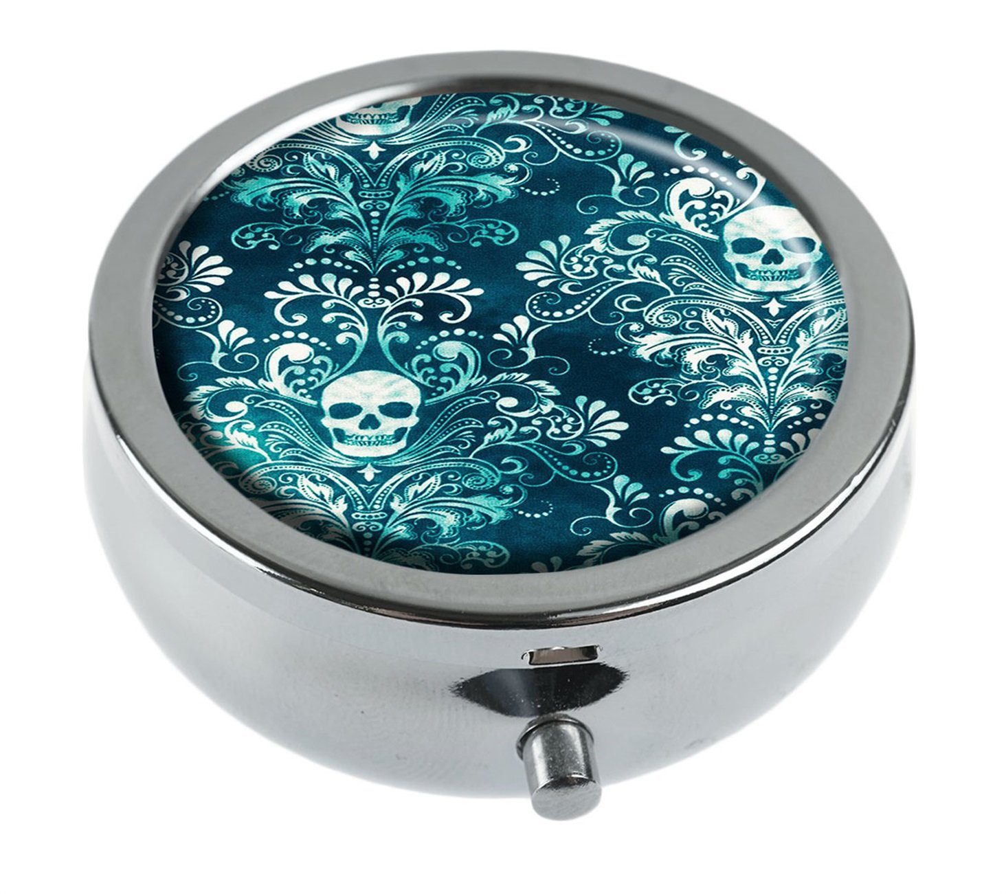 Hiuyi Teal Skull Damask Custom Personalized Round Pill Box Pocket Wallet Travel Pill Vitamin Decorative Box Protector