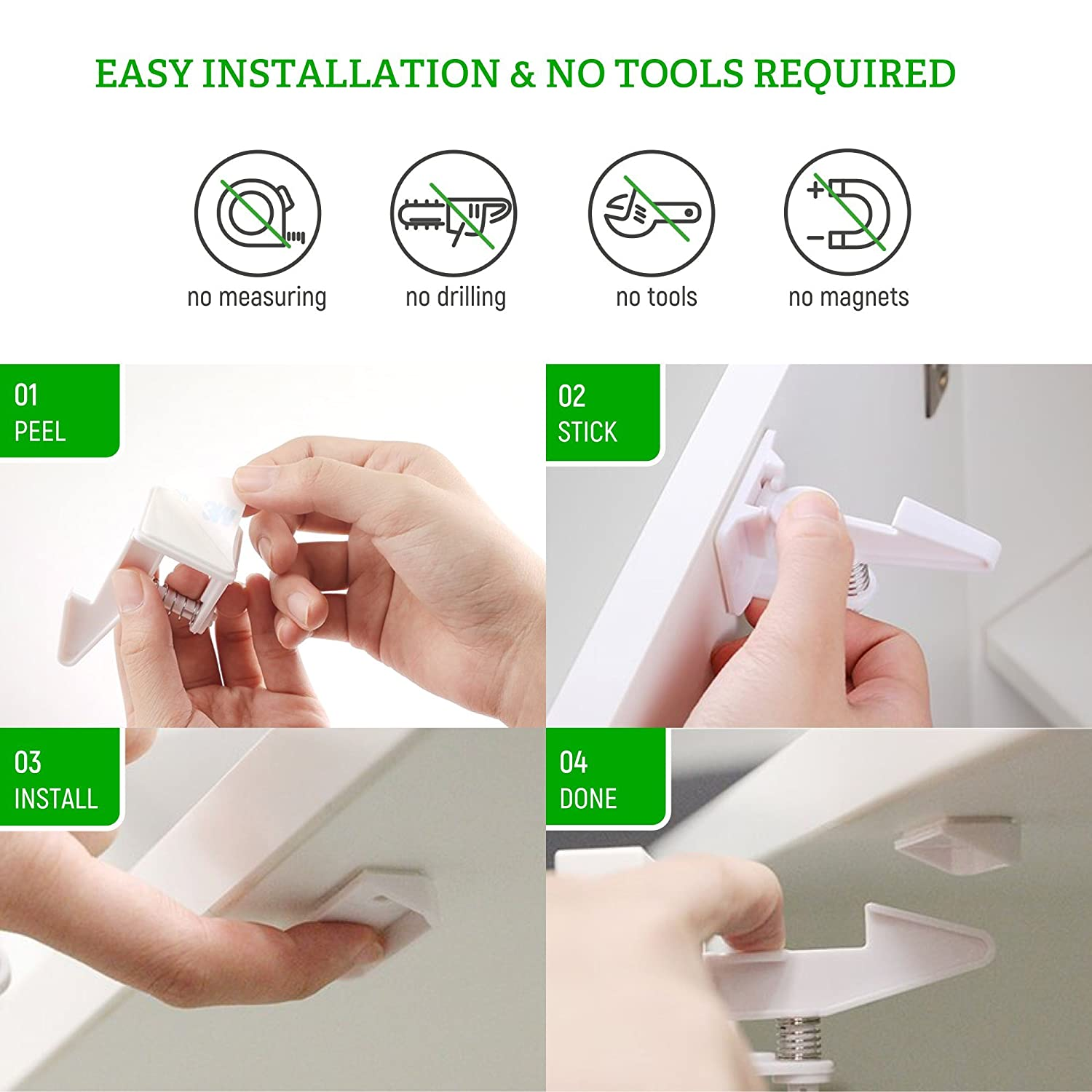 Easy to Install No Tools or Drilling Needed Child Safety Cupboard Latches Invisible Design with Latches and BONUS Installation Videos 10 Packs Black Baby Guard