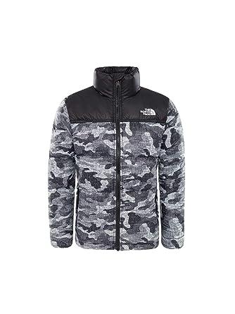 461855389 THE NORTH FACE Nuptse Down Jacket Boys TNF Black Textured Camo Print ...