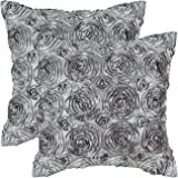 CaliTime Pack of 2 Cushion Covers Throw Pillow Cases Shells for Couch Sofa Home, Solid Stereo Roses Floral, 18 X 18 Inches, Gray