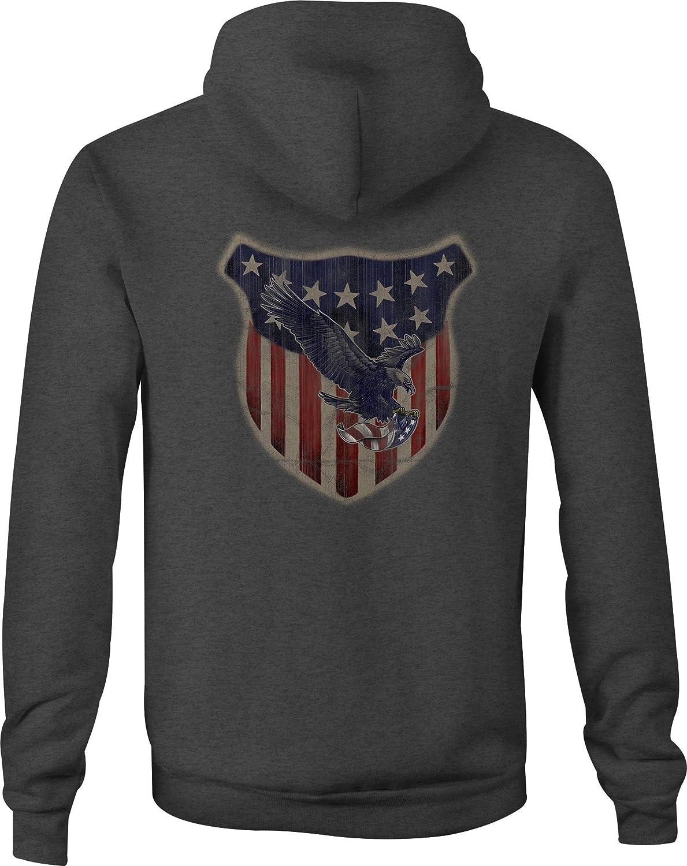 American Zip Up Hoodie Liberty USA Shield Hooded Sweatshirt for Men