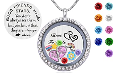 Amazon my best friends gift 30mm stainless steel round my best friends gift 30mm stainless steel round living floating charm memory lockets pendant necklace aloadofball Choice Image