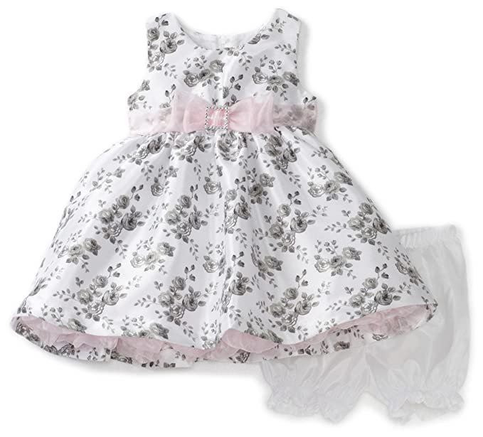 2fed14a2d Amazon.com  Nannette Baby Girls  Rose Print Shangtung Dress with ...