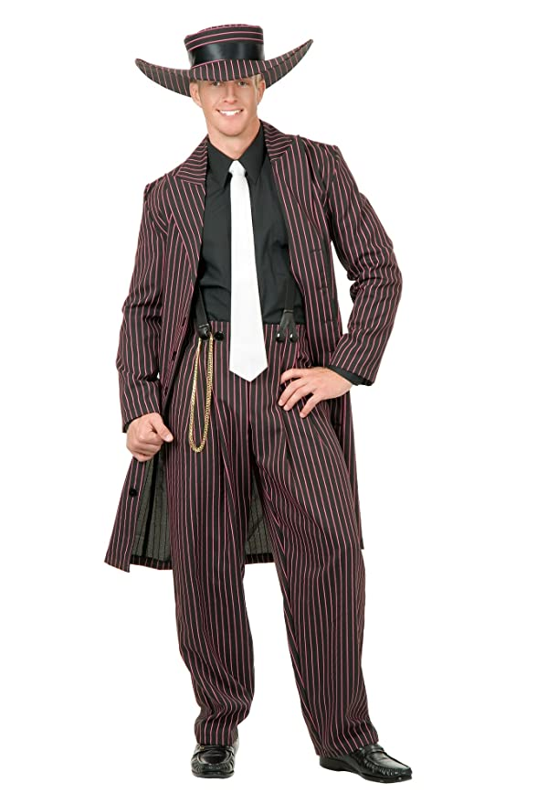1940s Men's Costumes: WW2, Sailor, Zoot Suits, Gangsters, Detective Charades Costumes Mens Zoot Suit /Red Adult Costume $51.33 AT vintagedancer.com