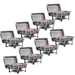Tiger Chef 8-Pack 8 Quart Full Size Stainless Steel Chafer Dishes Set Chafing Dish with Water Pan, Food Pan, Lid, Food warmer Buffet Server for Parties, Hotels, Restaurants, Catering Supplies