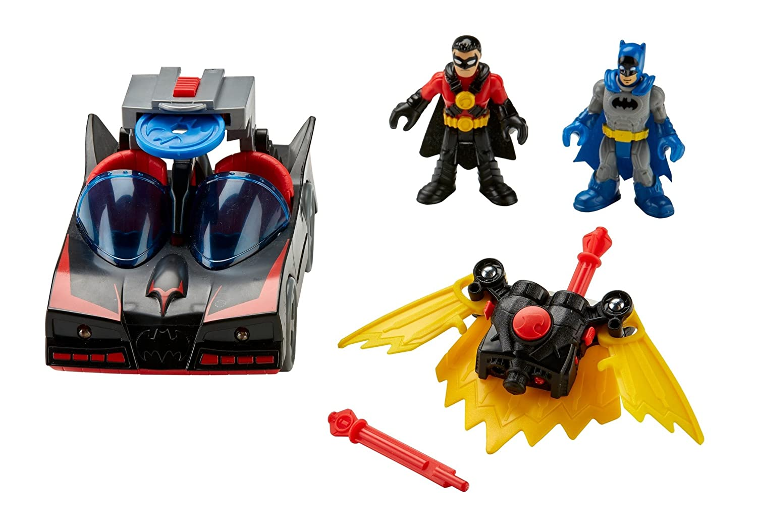 Fisher-Price Imaginext DC Super Friends Batmobile with Lights and Red Robin by Imaginext