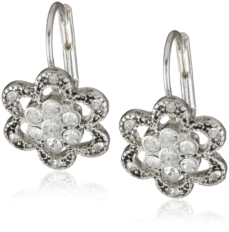 80802dc680a50 Amazon.com: Betsey Johnson Mini Silver Pave Flower Drop Earrings ...