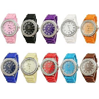 cf2e70dc47 Geneva Women's 10 PCS Watches Crystal Wristwatch Set Silicone Jelly Band