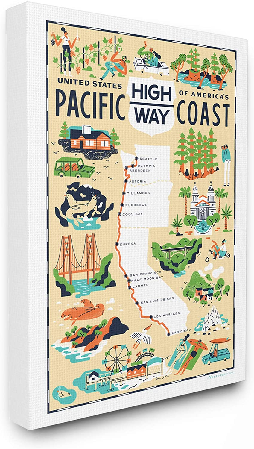 Stupell Industries US Pacific Coast Highway Pale Yellow Illustrated Scenic Map Poster Oversized Stretched Canvas Wall Art, 24 x 1.5 x 30, Multi-Color