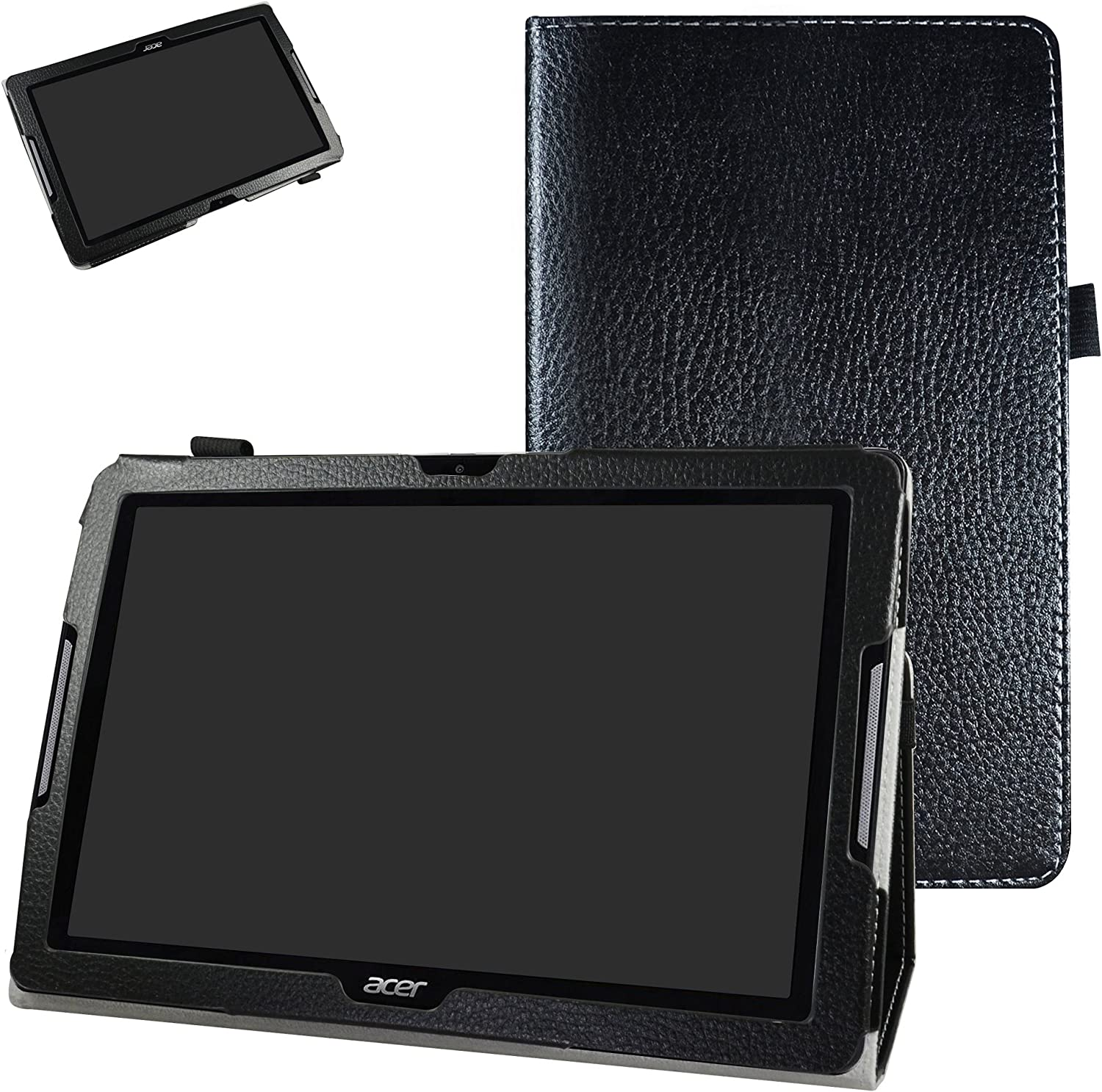 "Acer Iconia One 10 B3-A30 Case,Mama Mouth PU Leather Folio 2-Folding Stand Cover with Stylus Holder for 10.1"" Acer Iconia One 10 B3-A30 Android Tablet, Black"