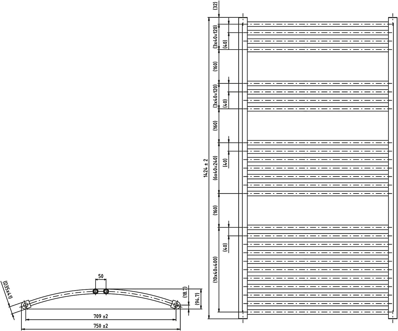 Heizk/örper Badheizk/örper gebogen 1424 x 750 chrom mit Mittelanschluss 50 mm