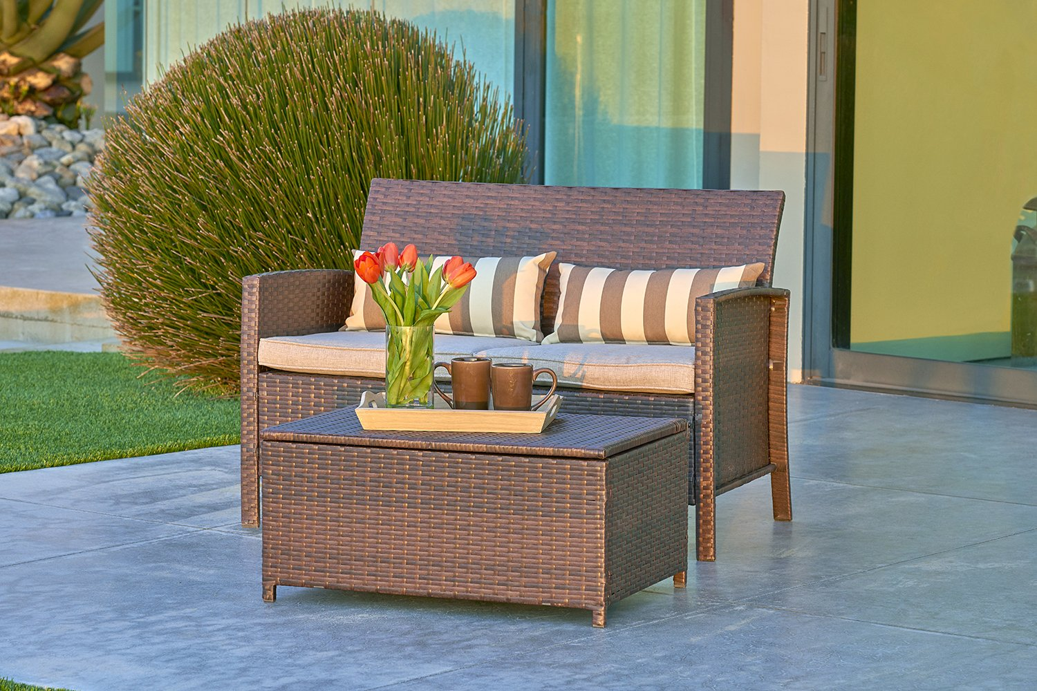 SOLVISTA Outdoor 2-Piece Loveseat with Coffee Table Built-In Storage Bin, All Weather Brown Wicker with Light Brown Waterproof Cushions & Classic Gold Stripe Throw Pillows | Patio, Backyard, by Solvista