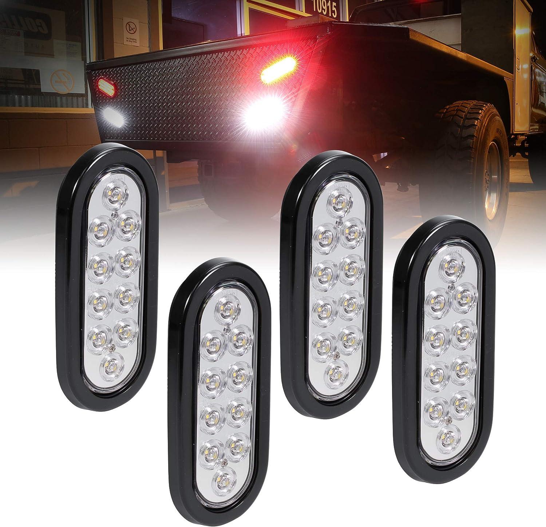 "4pc 6"" White Oval LED Reverse Trailer Tail Light Kit [DOT FMVSS 108] [SAE (2) R] [Grommet & Plug Included] [IP67 Waterproof] [Back Up Signal] Trailer Lights for Boat Trailer RV Trucks"