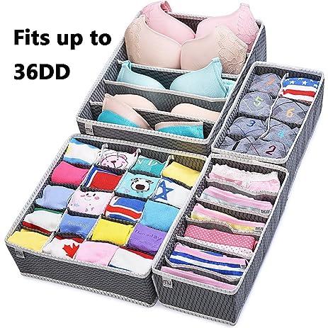 Closet Underwear Organizer Drawer Divider 4 Set by MIUCOLOR for Underwear,  Bras, Socks,