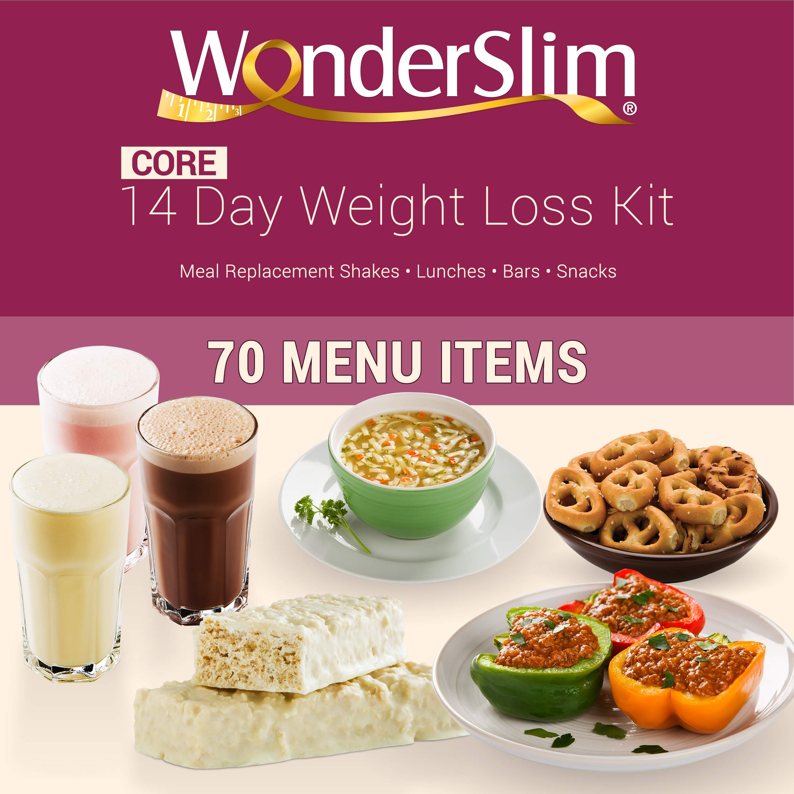 WonderSlim Core 2 Week Diet Kit - Complete Weight Loss Package - Meal Replacements, Protein Supplements, Snacks and Lifestyle Guide by WonderSlim (Image #1)