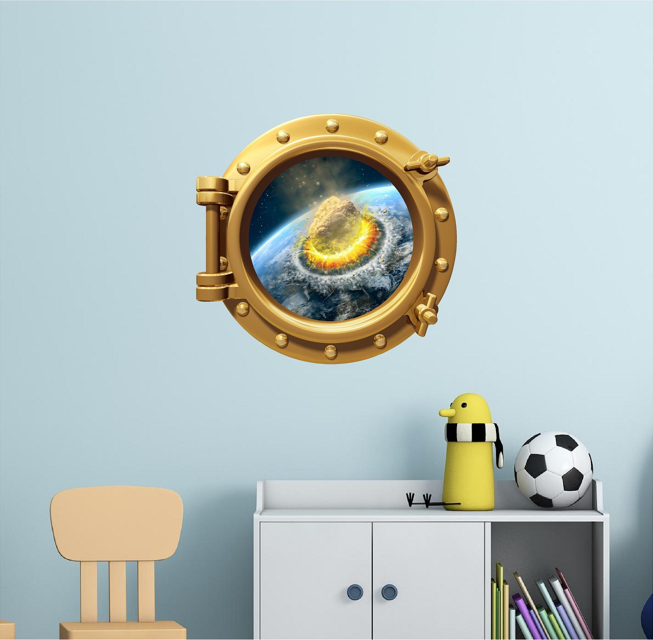 24'' PortScape WALL DECAL Asteroid Hits Earth #1 BRONZE Wall Vinyl Sticker Mural Jelly Fish Kids Childrens Room Decor