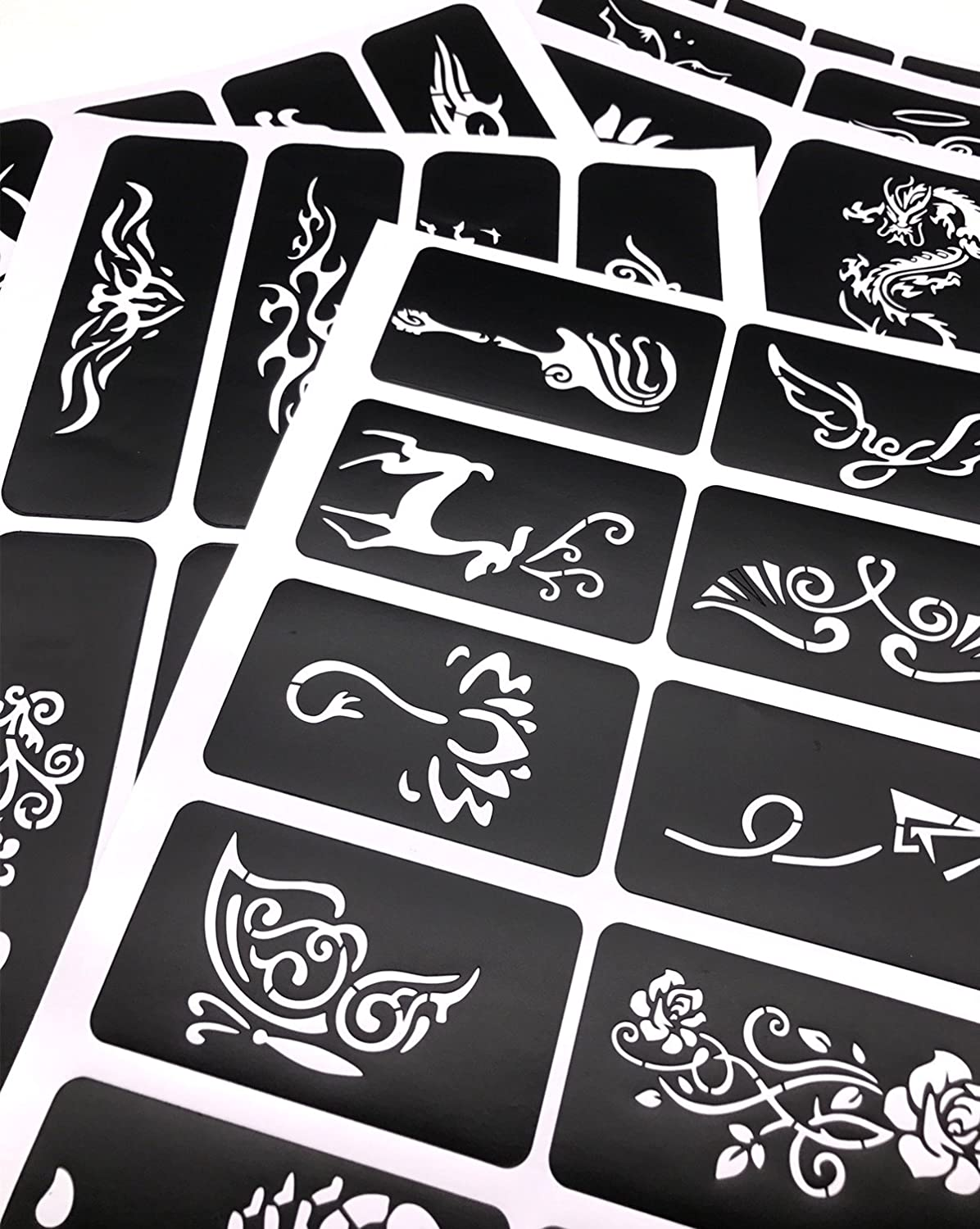 10 Sheets Crafts Adhesive Henna Tattoo Stencils Templates For Henna