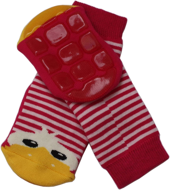 Taglia: 15-16 Weri Spezials Spugna Calzini ABS per Bambini con suola Antiscivolo 3-6 mesi Anatroccolo Colore: Rosso e Rosa