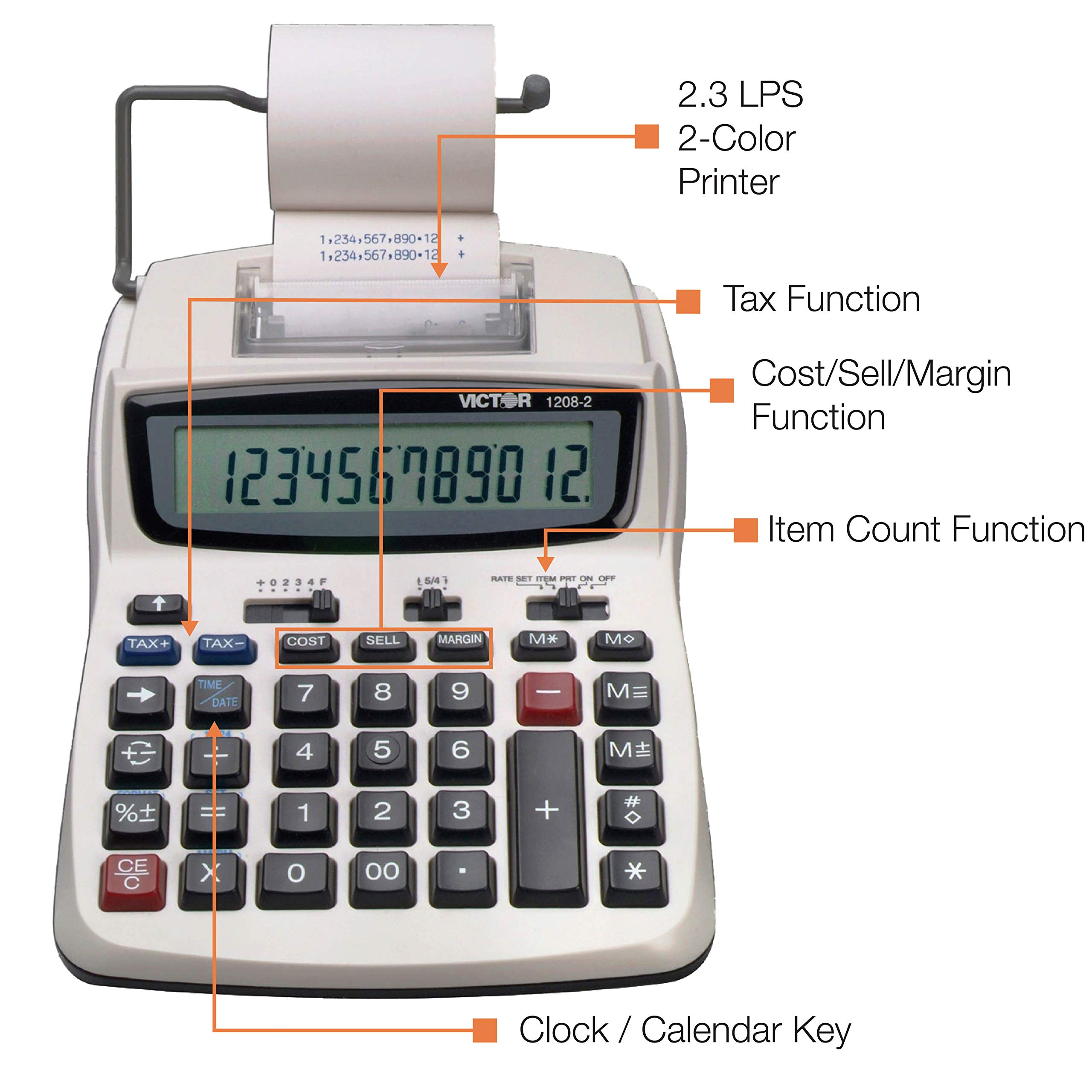 Victor Printing Calculator, 1208-2 Compact and Reliable Adding Machine with 12 Digit LCD Display, Battery or AC Powered, Includes Adapter