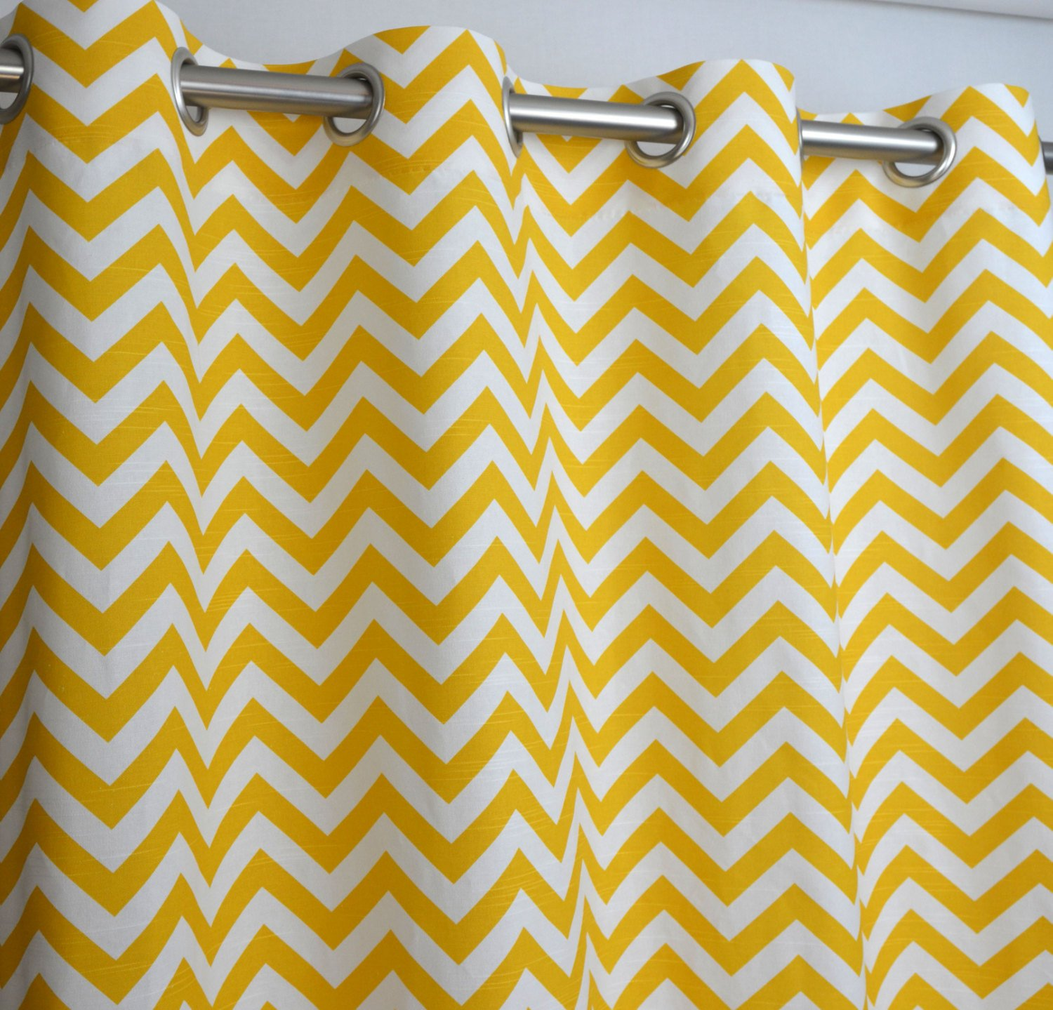 Amazon.com: Yellow And White Chevron Zig Zag Drape With Blackout Lining One  Grommet Top Curtain Panel 96 Inches Long X 50 Inches Wide: Home U0026 Kitchen