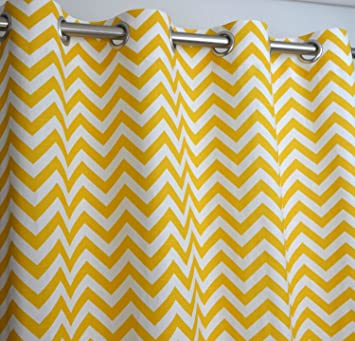 Yellow and White Chevron Zig Zag Drape with Blackout Lining, One ...