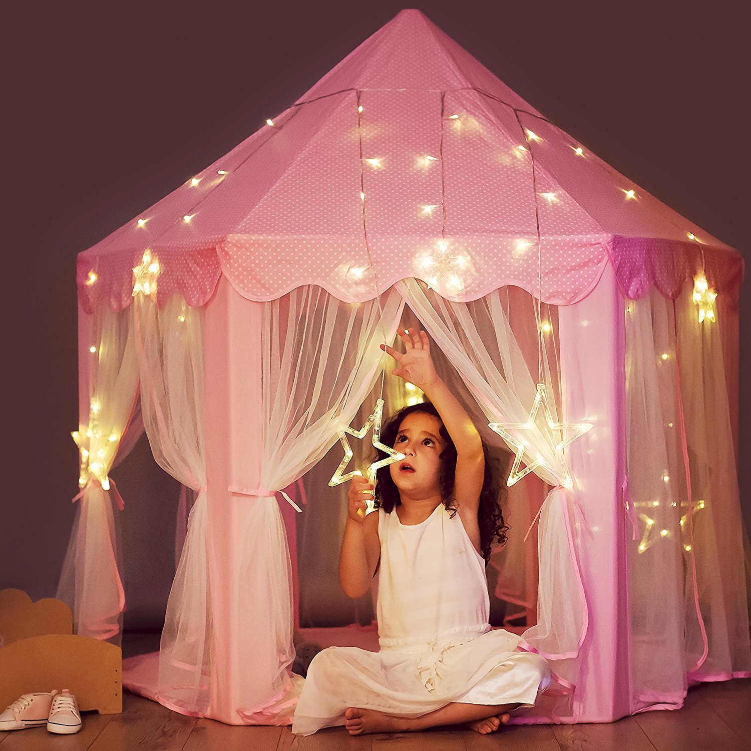 Princess Castle Tent with Large Star Lights String, Durable Girls Play Tent for Indoor and Outdoor Games, Stimulate Pretend and Imaginative Play, Have Fun in the Cute Pink Princess Tent with Lights Perfectto PrincessTent_Pink_LEDLarge