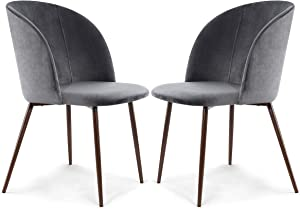 POLY & BARK Kantwell Velvet Dining Chair, Set of 2, Cool Charcoal/Walnut