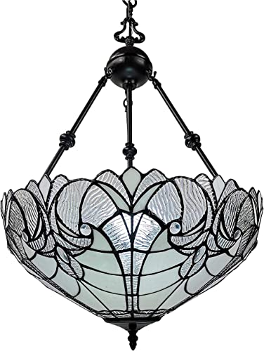 Amora Lighting Tiffany Style Hanging Lamp Jeweled Chandelier 18″ Wide Stained Glass White Antique Vintage Light Decor Restaurant Game Living Dining Room Kitchen Gift AM263HL18B