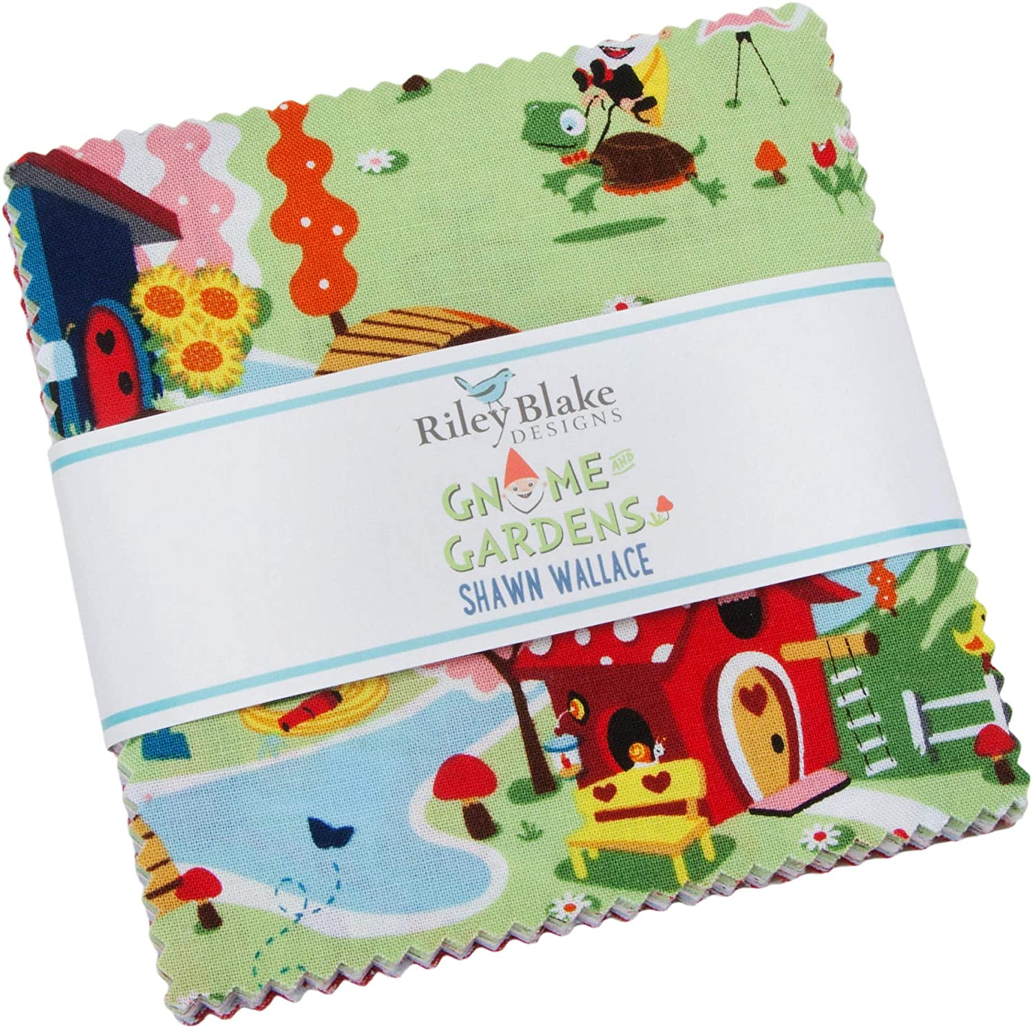 Shawn Wallace Gnome and Gardens 5 Stacker 42 5-inch Squares Charm Pack Riley Blake 5-7890-42