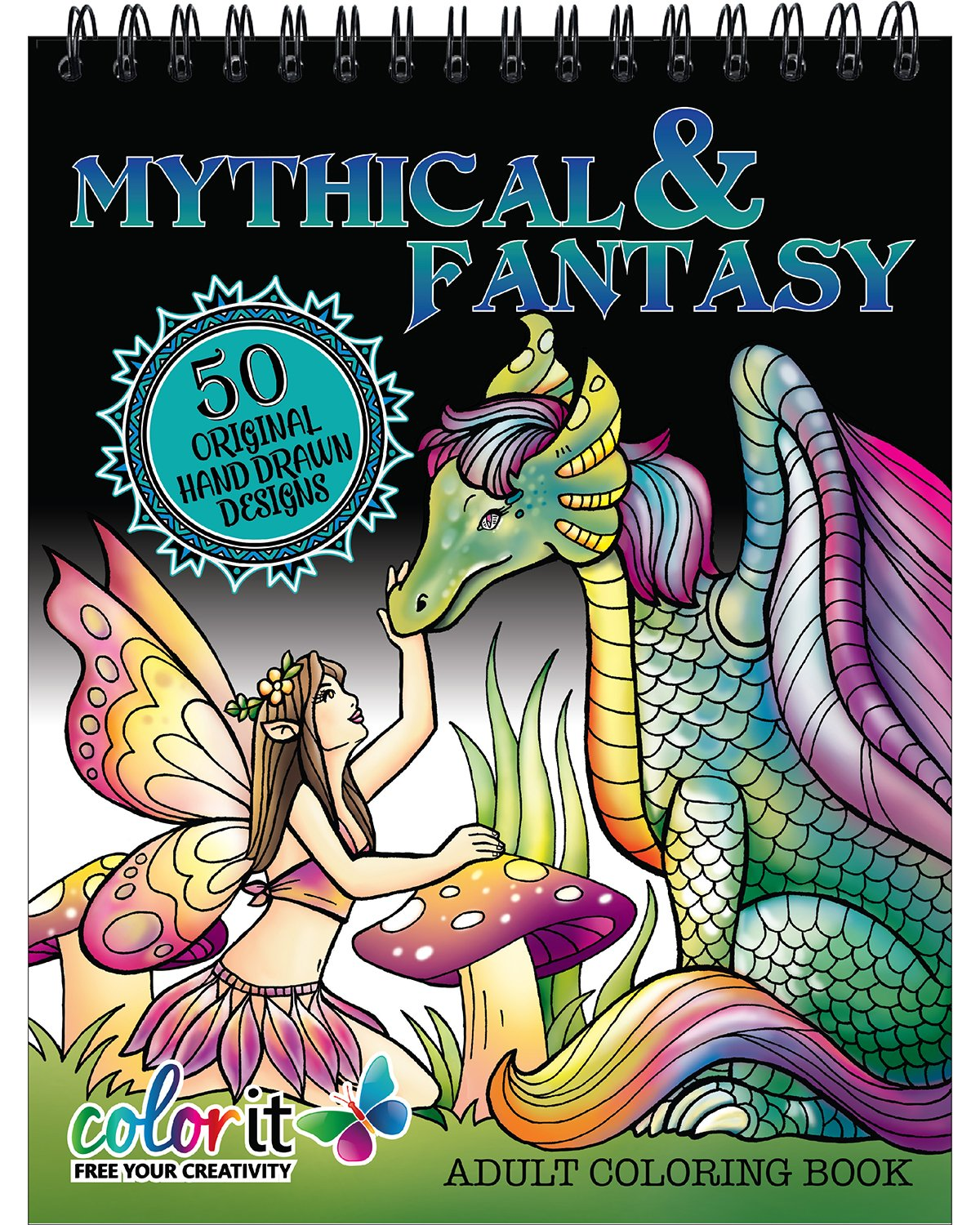 Mythical & Fantasy Adult Coloring Book - Features 50 Original Hand Drawn  Designs Printed on Artist Quality Paper, Hardback Covers, Spiral Binding,  ...