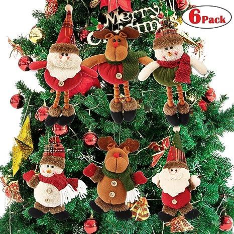 Dreampark Plush Christmas Ornaments 6 Pack Xmas Hanging Ornaments Decorations Festive Season Pendant Santa Snowman Reindeer Ornaments Plush For
