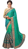 Nivah Fashion Women's DhupionSilk / Net Half & Half Sari Real Diamond With Embroidery Dori Work Saree