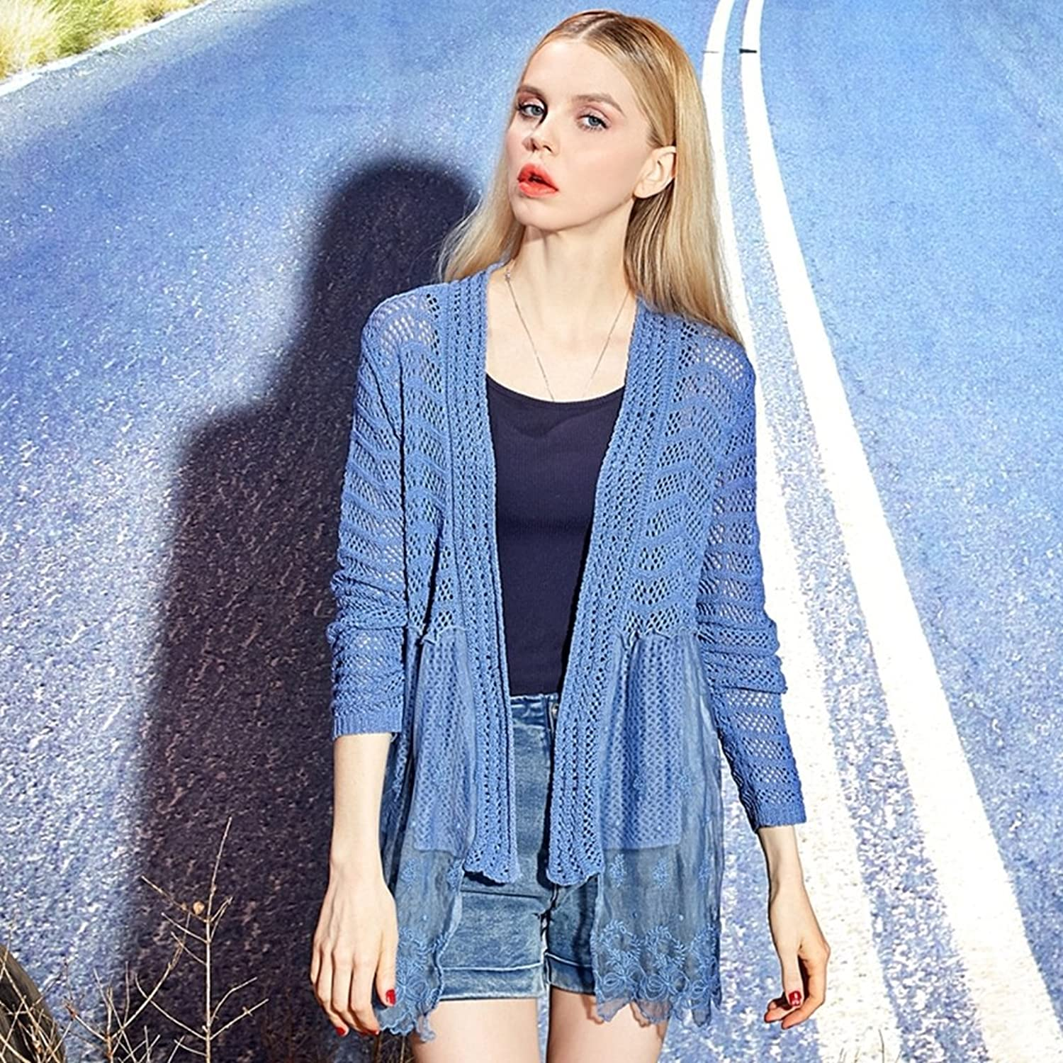 Elf Sack Womens Spring Spliced Mesh Embroidered Knitwear Sweater