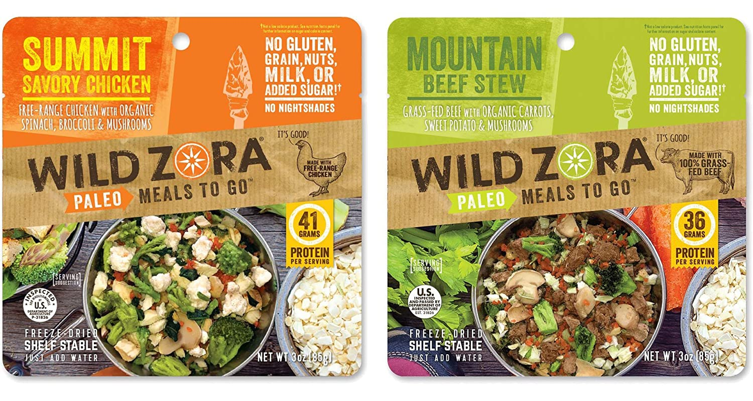Wild Zora Paleo Meals To Go - Summit Savory Chicken and Mountain Beef Stew - 100% Grass Fed Beef & Free Range Chicken - Freeze Dried Meals Backpacking & Camping - AIP Friendly, Gluten Free - (4-Pack)
