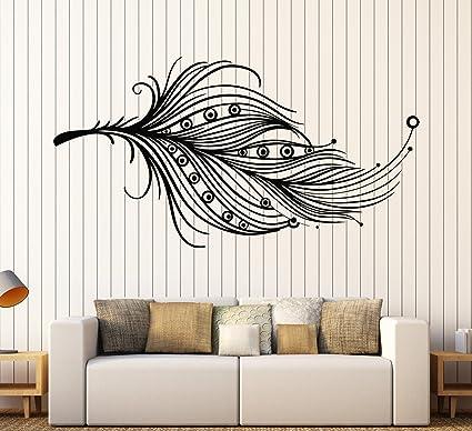 Amazon.com: Vinyl Wall Decal Beautiful Feather Ethnic Style ...