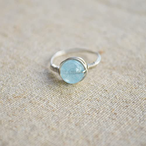 Aquamarine Gemstone Natural Stone Birthstone Solitaire 925 Sterling Silver Wire Wrapped Rings