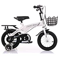 دراجة الأطفال ZHITONG مع عجلات التدريب وسلة معدنية 45.72 سم، أبيض