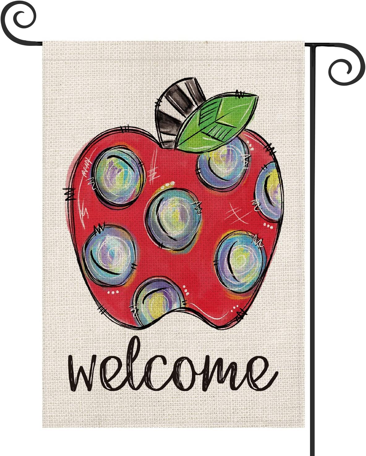 AVOIN Welcome Hand Drawn Apple Teacher Garden Flag Double Sided, First Day of School Back to School Yard Outdoor Decoration 12.5 x 18 Inch