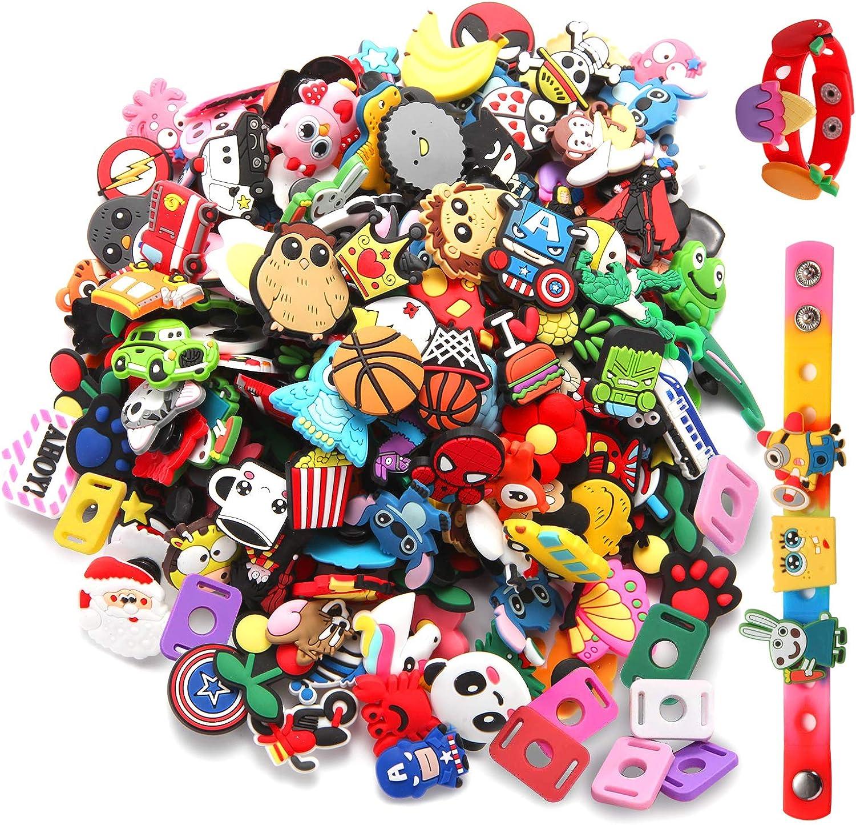 US STOCK 100PCS Croc Shoe Charms Fit Clog Jibbitz Bracelets//Shoe Lace Adapter