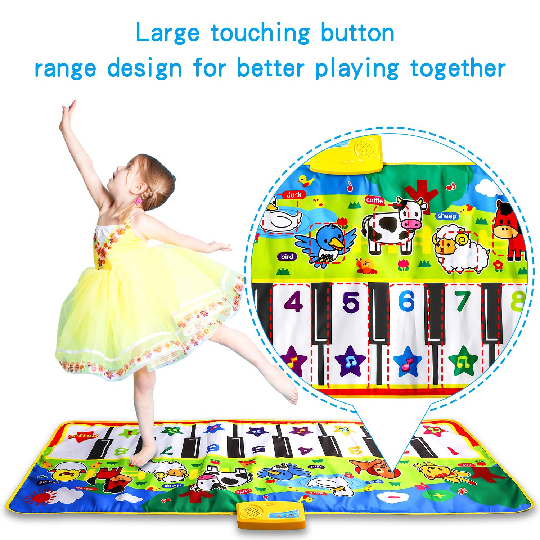 M SANMERSEN Piano Music Mat, Music Dance Mat, Keyboard Play Mat, Animal Blanket Carpet Playmat, Musical Touch Play Game Gifts for Kids Toddlers Girls Boys, 53'' x 23'' by M SANMERSEN (Image #1)