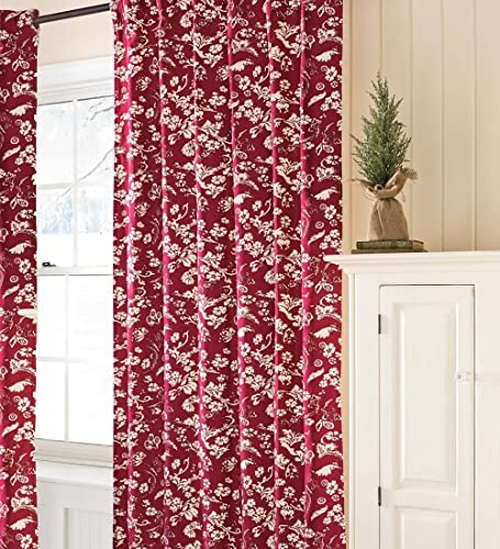 Plow Hearth 42″ W x 72″ L Floral Damask Rod-Pocket Homespun Insulated Curtain Panel