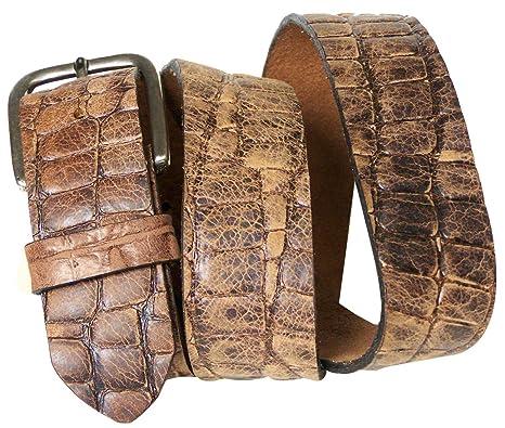 5c59352e6514 Fronhofer Ceinture en cuir croco de 4 cm avec une boucle rectangulaire,  ceinture croco, bouton-pression, ceinture échangeable  Amazon.fr  Vêtements  et ...