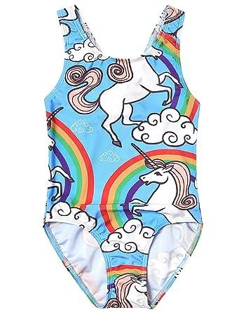 86517ce7c Amazon.com  Jxstar Girls Bathing Suits Unicorn Swimsuits One Piece ...