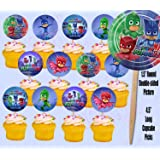 PJ Masks Disney Jr Cupcake Picks Cake Toppers -12 pcs Catboy, Owlette, Gekko