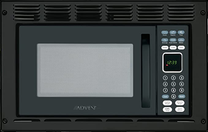 Advent MW912BK Black Built-in Microwave Oven with Trim Kit specially built for RV Recreational Vehicle, Trailer, Camper, Motor Home, Boat etc., 0.9 ...